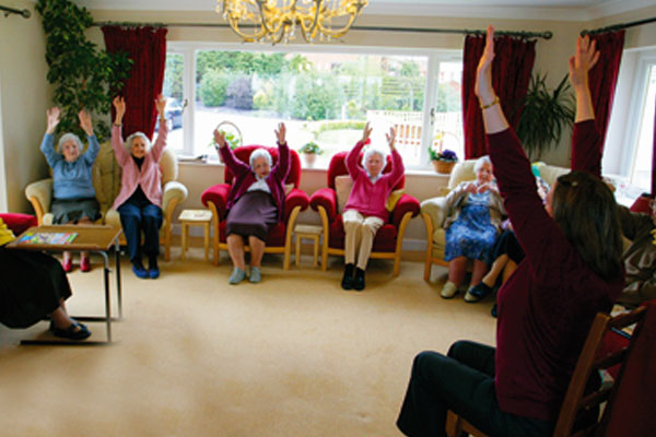 Residents of Plas Garnedd participating in activities