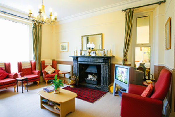 The lounge at Plas Garnedd
